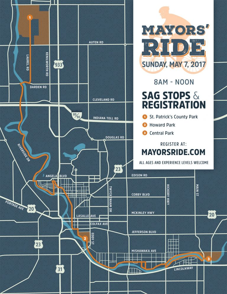 Michiana Mayors' Ride 2017 Map